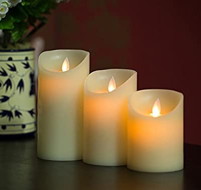 "Remote Ready Set 3 Pieces (3""D x 4""/5""/6""H) Moving Flame Wick Real Wax Pillar Candle with Timer, NOT Luminara but same flame effect"