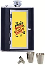 Better Call Saul Custom Personalized Printed 6oz Black Faux Leather Hip Flask
