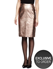 Twiggy for M&S Collection Leather Metallic Effect Pencil Skirt