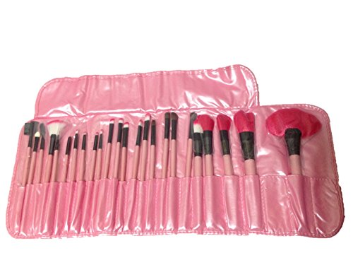 化粧 メイク ブラシ 24本 セット プロ仕様 定番 ピンク 収納 ケース ポーチ