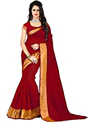 Pramukh Suppliers Women's Poly Cotton Saree With Blouse Piece(Deep_Red_Red)