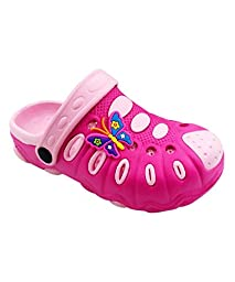 Chulis Footwear Girls\' Two-Tone Pink Butterfly Clogs 5T