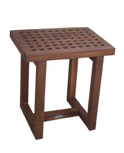 Solid Teak Grate Shower Stool, Bench