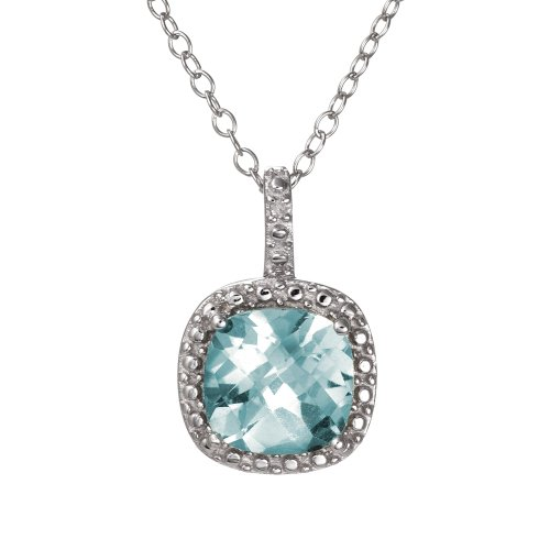 Sterling Cushion Cut Diamond Necklace Pendant