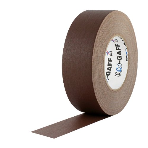 "ProTapes Pro Gaff Premium Matte Cloth Gaffer's Tape With Rubber Adhesive, 11 mils Thick, 55 yds Length, 2"" Width, Brown (Pack of 1)"