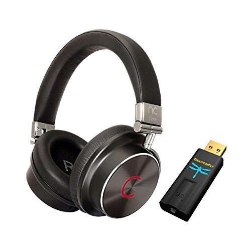 Cleer Audio NC Hybrid Quality Noise-Canceling Over-Ear Headphones (Black) with Audioquest DragonFly Black USB DAC