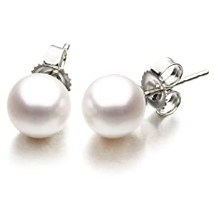 14K White Gold 6-6.5mm White Japanese Akoya Saltwater Cultured Pearl Stud Earrings AAA Quality