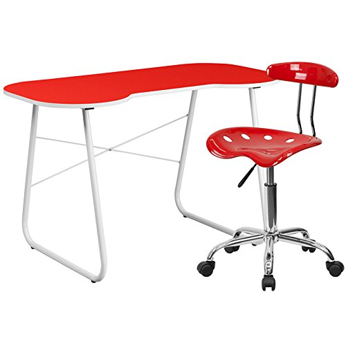 Flash Furniture Computer Desk And Tractor Chair, Red