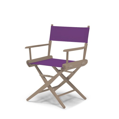 Telescope Casual World Famous Dining Height Director Chair, Rustic Grey With Purple Canvas Fabric