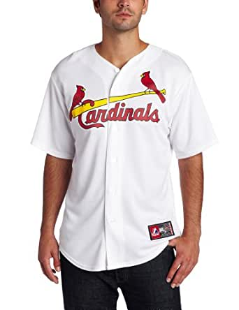MLB Men's St.Louis Cardinals Yadier Molina White Home Short Sleeve 6 Button Synthetic Replica Baseball Jersey Spring 2012? (White, XX-Large)
