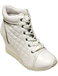 Forever Adriana-19 Women S Round Toe Lace Up Wedge Heel Zip Accent Quilted PU Ankle High Sneakers