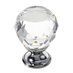 1/5/10X 30MM Crystal Glass Round Door Knob Cabinet Drawer Wardrobe Pull Handle (Clear )