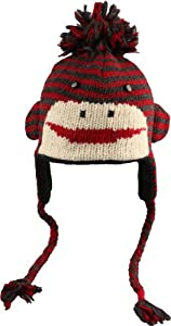 DeLux Cute Sock Monkey Charcoal and Red Striped Wool Pilot Animal Cap/Hat with Ear Flaps and Poms