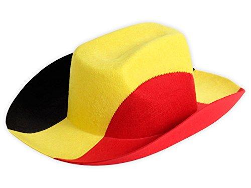 Cappello da cowboy per tifosi di calcio Belgio (00/0746) stile western unisex in tessuto feltro accessorio stadio europei mondiali coppa ultras carnevale festa spettacolo belga Belgique