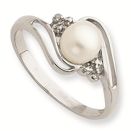 Sterling Silver Rhodium 6mm FW Cult Button Pearl & Diamond Ring