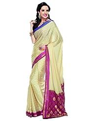 Cream Crepe Silk Weaved Saree In Pink & Gold Weaved Pallu-SR6114