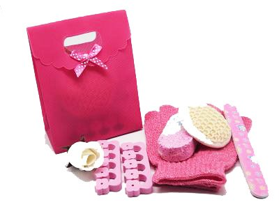 5 piece beauty set in a hot pink tab top box gift bag (exfoliating gloves, pumice stone, emery board, toe seperator & facial sisal pad) - beauty