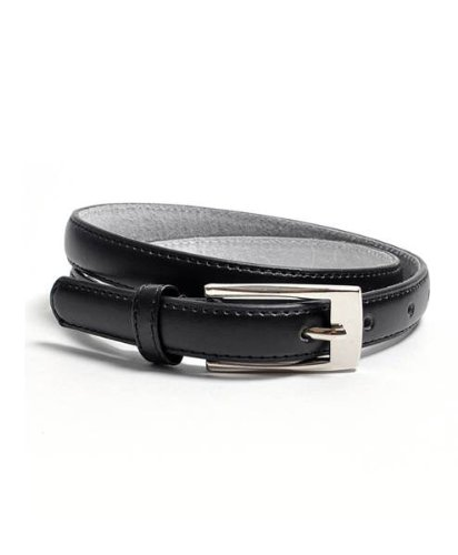 "Solid Color Leather Adjustable Skinny Belt, Medium (32""-35""), Black"