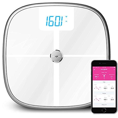 Koogeek スマートスケール 体重計 Bluetooth Wi-Fi 筋肉骨量 BMI BMRと内臓脂肪体重体脂水分など 16 ユーザー 330lb/150kg 容量