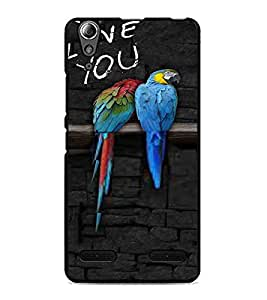PrintDhaba Love Birds D-3216 Back Case Cover for LENOVO A6000 PLUS (Multi-Coloured)