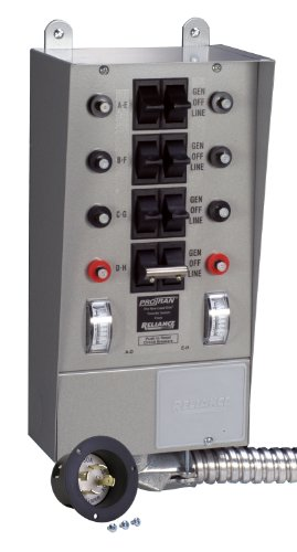 Reliance Controls 30408B 8-Circuit Transfer Switch, 125/250-Volt