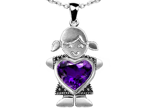2.00 cttw 14K White Gold Plated 925 Sterling Silver Little Girl Holding Heart Mother Birthstone Pendant with Genuine Amethyst