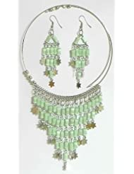 Light Green Beaded Spring Necklace With Jhalar Pendant And Earrings - Beads And Metal