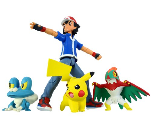 Takara-Tomy-Pokemon-Monster-Collection-Ash-Ketchum-Pokemon-Set-Battle-Scene-Pikachu-Froakie-Hawlucha