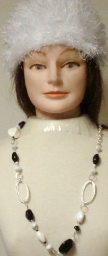 Sterling Silver Plated with White and Black Beads Long Chain Necklace Earrings for Women and Teens Offered with Hand Crocheted Acrylic White Fun Fur Skull Cap
