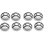 Stainless Steel Four Compartment Round Plate / Thali/ Mess Tray/ Dinner Plate Set Of 8 Pcs- 33.5 Cm Each