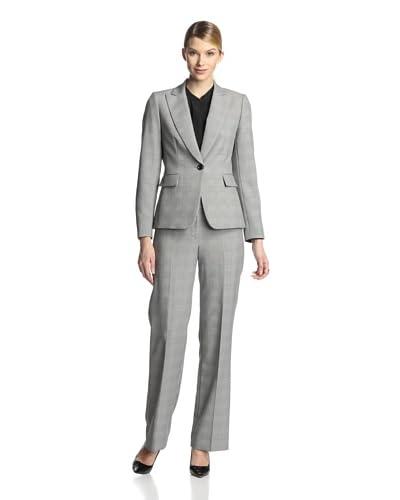 Tahari by ASL Women's Multi-Check Pant Suit  [Black/White]