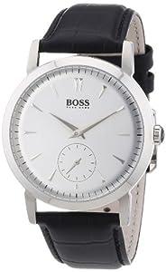 Hugo Boss - 1512774 - Montre Homme - Quartz Analogique - Cadran Argent - Bracelet Cuir Noir