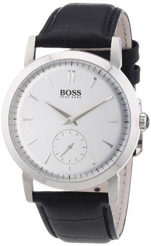 238a586598f Top Product Hugo Boss Silver Dial Black Leather Mens Watch 1512774 ...