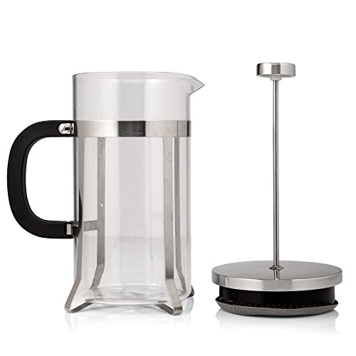 Cafe Deluxe French Press Coffee Maker & Coffee Press - 1 Liter,FREE Video Bonus, Stainless Steel