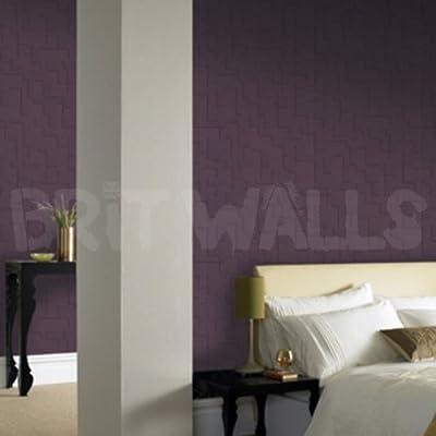 3D Block' Purple Brick Effect Wallpaper by wallpaper heaven