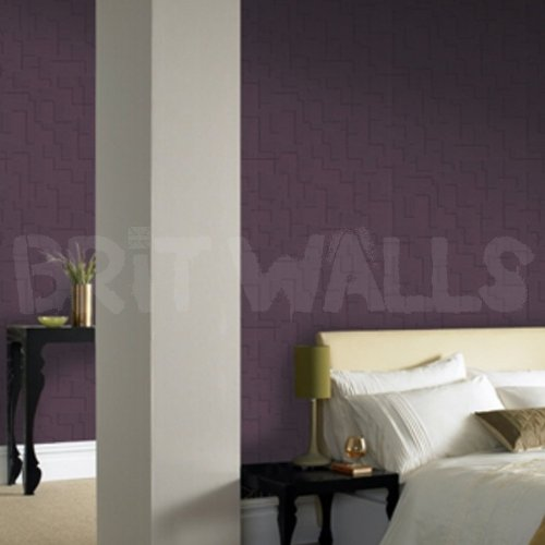 3d block 39 purple brick effect wallpaper by wallpaper for Purple brick wallpaper