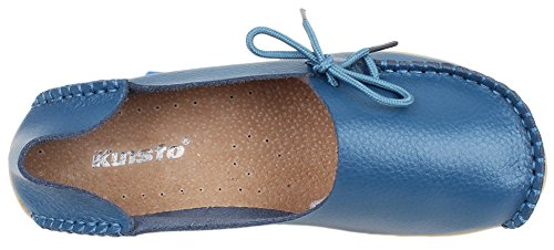 Kunsto Women's Leather Casual Loafer Shoes US Size 8.5 Light Blue