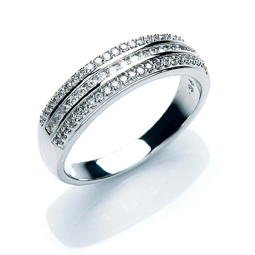 Eternity Ring, 9ct White Gold Diamond Ring, Claw Set, 1/3 Carat Diamond Weight