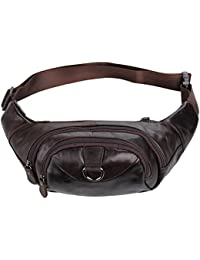 CV Leather Waist Bag- Genuine Leather Fanny Pack For Travelling- Unisex, Brown