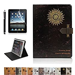 iPad Air 2 Case,DINGRICH Fate Turntable PU leather Flip Case Cover with Smart Feature(Built-In Magnet For Sleep/Wake Feature)for iPad Air 2(2014 Release Only) Screen Protector+Stylus Include(A11)