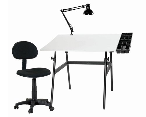 Offex Berkeley 4-pc Combo Black w/ White Top Tray Lamp and Drafting / Crafting Desk Height Seating Chair