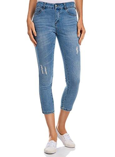oodji Ultra Donna Jeans Capri con Strappi, Blu, 28W/32L (IT 44 / EU 28 / M)