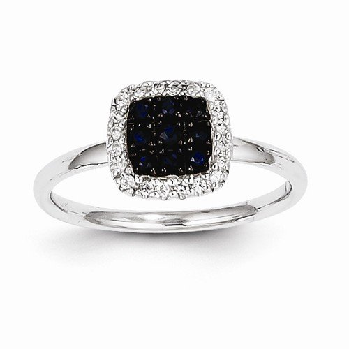 Size - 8.25 - Solid 14K White Gold Diamond & Dark Blue Sapphire Square Halo Engagement Wedding Ring (1/10 Cttw) (3Mm)