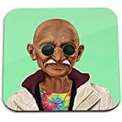 Mahatma Gandhi Wooden Coaster - Pop Art Modern Contemporary Decorative Art Coaster, Hipstory Project By Amit Shimoni...
