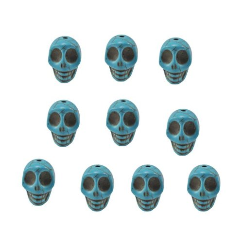 Turquoise Magnesite Dyed Gemstone Beads Carved Skull Beads, 14 X 10mm (10 Per Set)