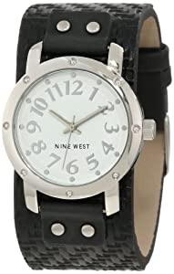 Nine West Women's NW/1329WTBK Silver-Tone Easy-to-Read Black Strap Watch
