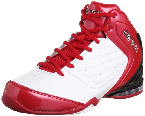 AND 1 Men's Master 2 Mid Basketball Shoe, White/Varsity Red/Black, 12 M US