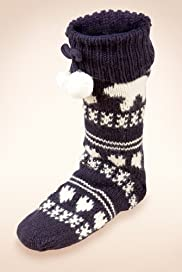 Polar Bear Print Slipper Socks with Angora [T60-5555-S]