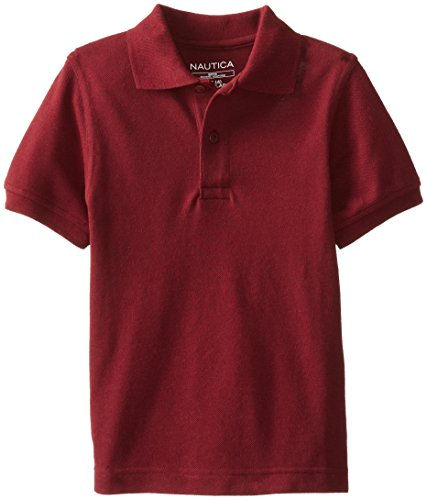Nautica Little Boys' Uniform Short Sleeve Pique Polo Shirt, Burgundy, Small front-1030855
