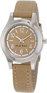 Nine West Women's NW/1223CMCM Round Silver-Tone Cream Strap Watch